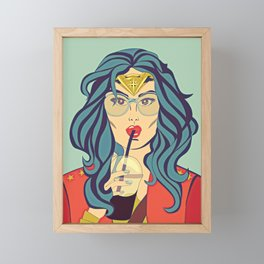 Superhero Coffee Break Framed Mini Art Print