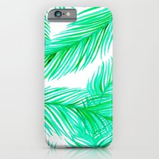 Green and White Tropical Palms Pattern iPhone 6s Slim Case