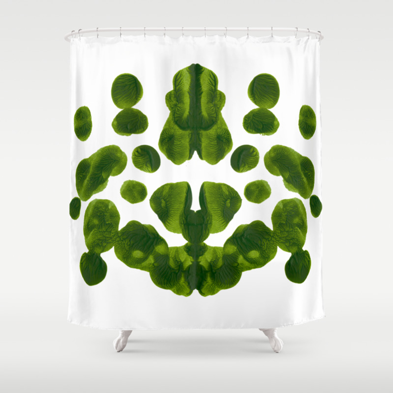 Organic Green Inkblot Bubble Pattern Shower Curtain