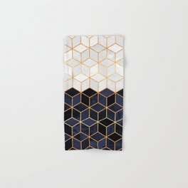 White & Navy Cubes Hand & Bath Towel