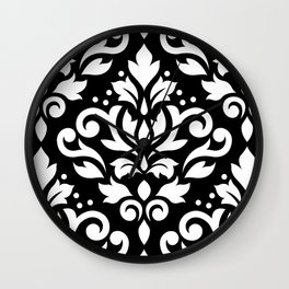 Scroll Damask Large Pattern White on Black Wall Clock