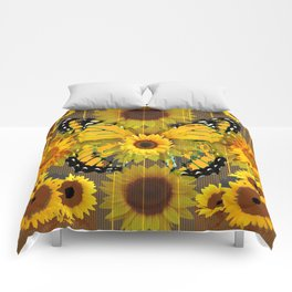 SUNFLOWER BOTANICALS YELLOW MONARCH BUTTERFLY Comforters