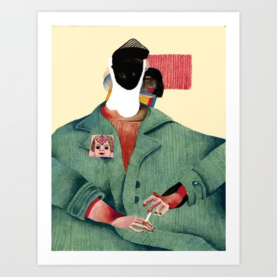 Seated Figure with Pin and Flag Art Print