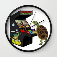 ninja turtle Wall Clocks featuring Arcade Ninja Turtle by Michowl