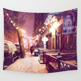 Winter Night with Snow in the East Village New York City Wall Tapestry