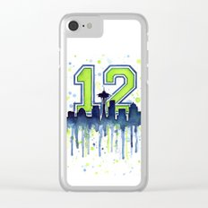 Seattle 12th Man Art Skyline Watercolor Clear iPhone Case