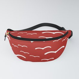 Maritime Sea Gull Pattern in Red & White - Mix & Match with Simplicity of Life Fanny Pack