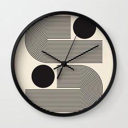Abstraction_BLACK_LINE_DOT_POP_ART_Minimalism_004D Wall Clock