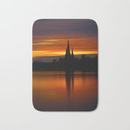 Fiery Sunset Reflection At The The Lichfield Cathedral Bath Mat