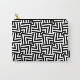 Black And White Op-Art Triangle Pattern Carry-All Pouch