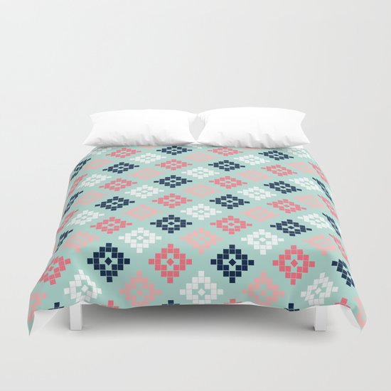 Aztec tribal colorful native geometric pattern design print duvet cover dorm decor college student  Duvet Cover