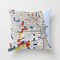 chicago Throw Pillows featuring Chicago by Mondrian Maps