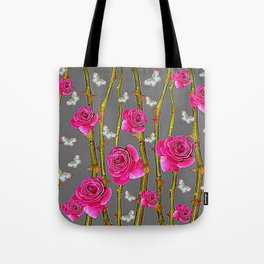 WHITE BUTTERFLIES & PINK ROSE THORN CANES  GREY ART Tote Bag