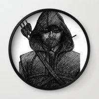 green arrow Wall Clocks featuring Arrow by Jack Kershaw