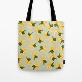 Yellow Citrus Lemon Fruit on Pale Lime Green Tote Bag