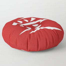 The word LOVE in Japanese Kanji Script - LOVE in an Asian / Oriental style writing. White on Red Floor Pillow
