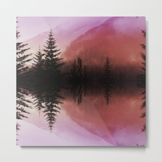 Sunset forest reflections Metal Print
