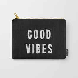 Grungy Distressed Ink Good Vibes | White on Black Carry-All Pouch