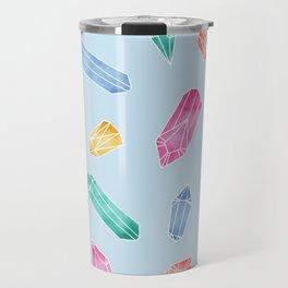 Crystals pattern - Light Blue Travel Mug