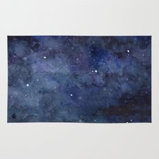 Night Sky Stars Galaxy | Watercolor Nebula Rug
