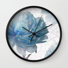 Blue Peony Wall Clock