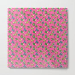 kitty kat (green on pink) Metal Print