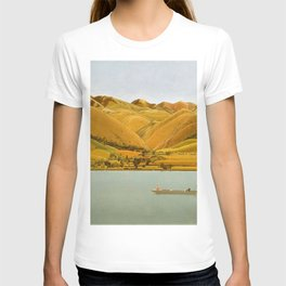Edge of Abruzzi, Italy; boat with three people on lake by Winifred Knights T-shirt