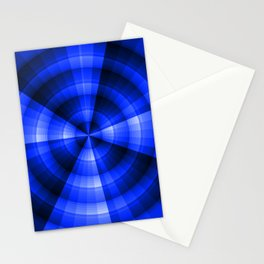 Monochromatic blue radial design Stationery Cards