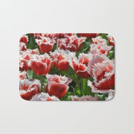 Big red roses with green leaves and white top edges Bath Mat