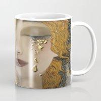 gustav klimt Mugs featuring My Klimt Serie:Gold by Müge Başak
