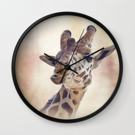 digital painting of giraffe portrait Wall Clock