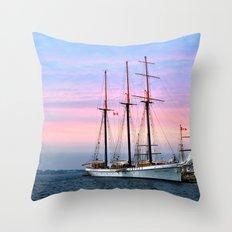 Tallship in Port Throw Pillow