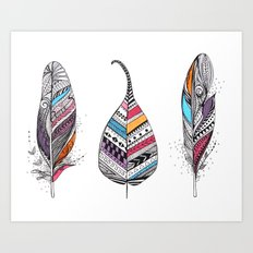 Aztec Leaf and Feathers Art Print