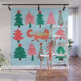 Fox And Bird In A Christmas Tree Winter Wonderland Wall Mural