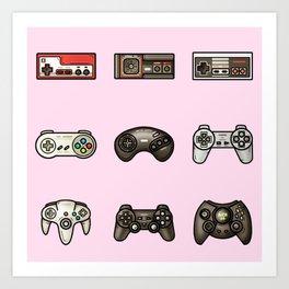 Retro Game Controllers Light Pink Art Print