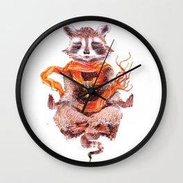 Raccoon buddha w Wall Clock