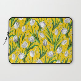 White Tulips & Baby's Breath  — Yellow Laptop Sleeve