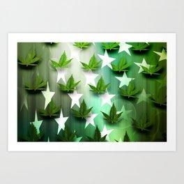 Patriotic Stars and Cannabis Design Art Print