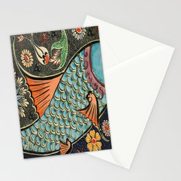 bohemian folk art orange aqua blue japanese good luck koi fish Stationery Cards
