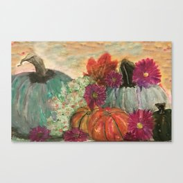 Pumpkins and Flowers Canvas Print