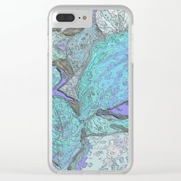 Blue Nature painting Clear iPhone Case