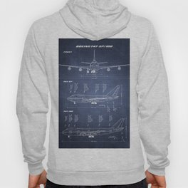 Boeing 747-SP and 747-100 Blueprint in High Resolution (dark blue) Hoody