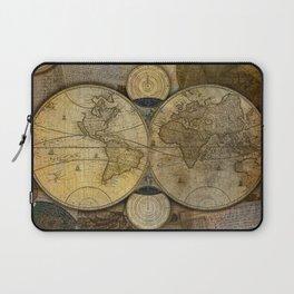 """""""Vintage paper & Maps (burlap texture)"""" Laptop Sleeve"""