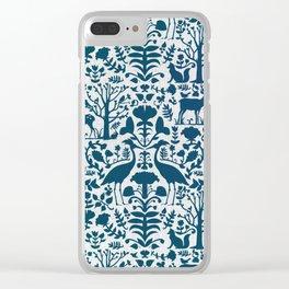 Folk Art Pattern Blue Teal on Gray Clear iPhone Case