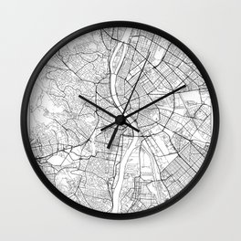 Budapest Map White Wall Clock
