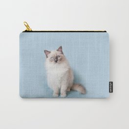 Blue eyed Ragdoll kitty sitting Carry-All Pouch