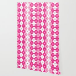 Argyle Design in Pink and White Wallpaper