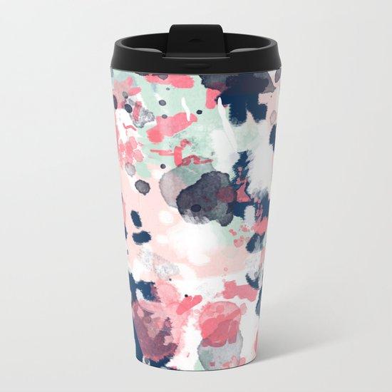 Lola - Painted abstract trendy color palette minimal decor nursery home Metal Travel Mug