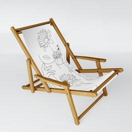 Minimal Line Art Woman with Flowers III Sling Chair
