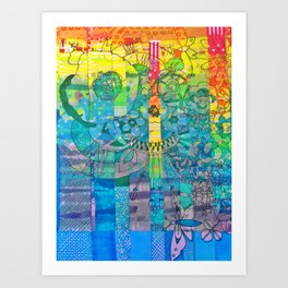 Pottery Motifs - rainbow Art Print